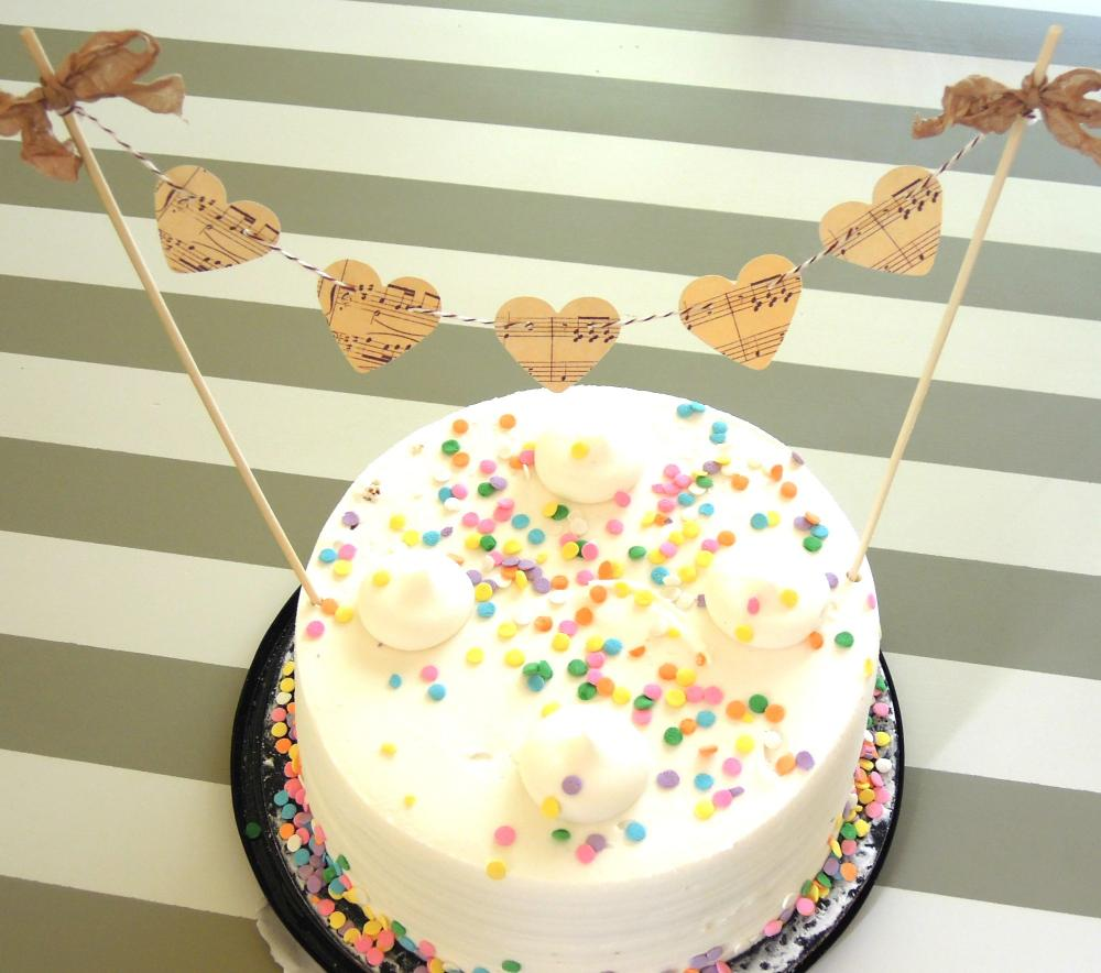 Vintage Inspired Music Sheet Heart Cake Bunting/Cake Topper