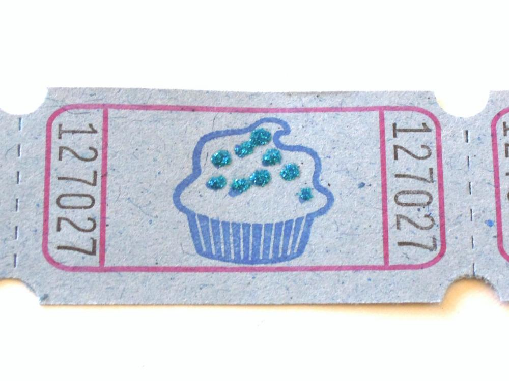 Blue Cupcake Raffle Tickets - Set of 12