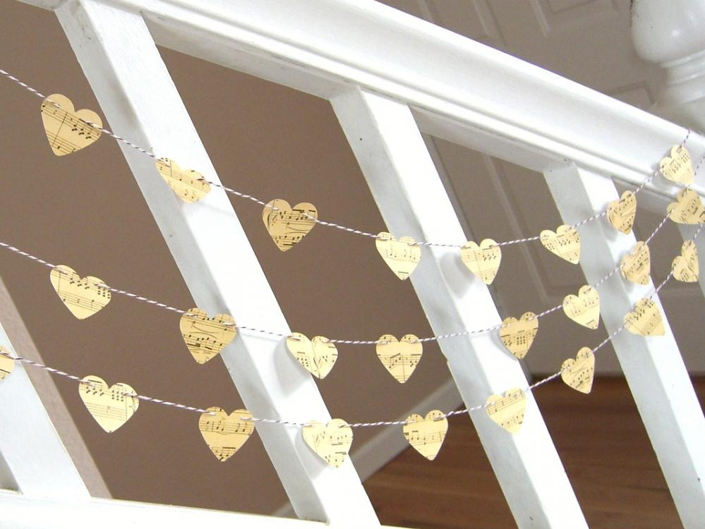 Vintage Inspired Music Sheet Heart Garland - 3 yards